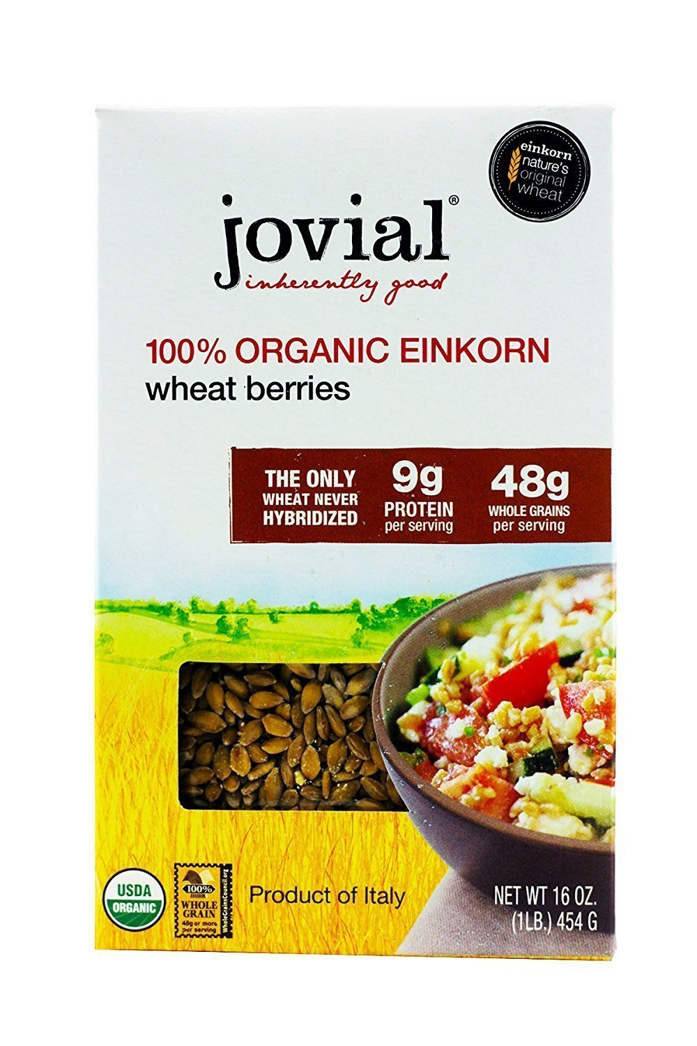Jovial Einkorn Wheat Berries   100% Organic Einkorn Wheat Berries   High Protein   Non-GMO   USDA Certified Organic   Product of Italy   16 oz (3 Pack)