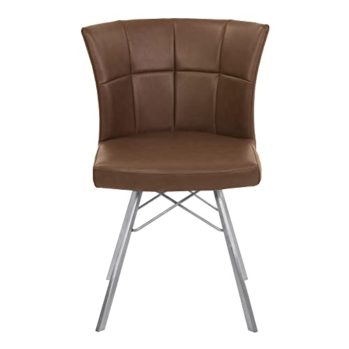 Armen Living Spago Dining Chair Set of 2 in Vintage Coffee Faux Leather and Brushed Stainless Steel Finish