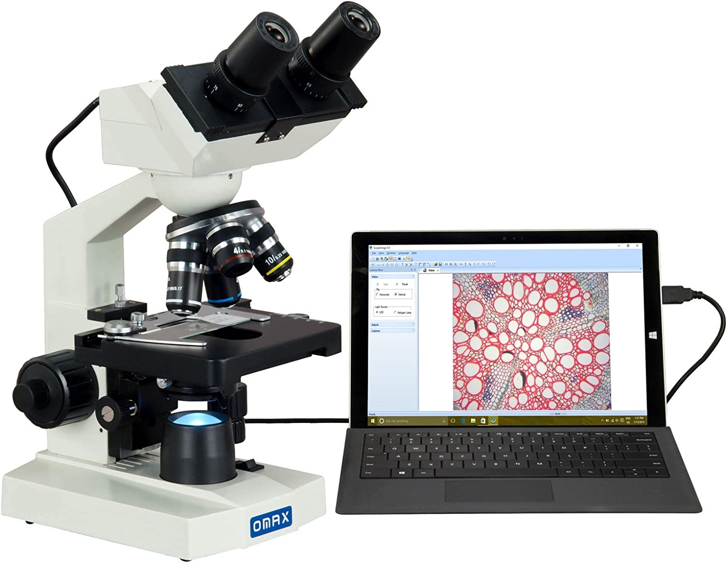 OMAX 40X-2000X Built-in 3.0MP Digital Camera Compound LED Binocular Microscope with Vinyl Carrying Case
