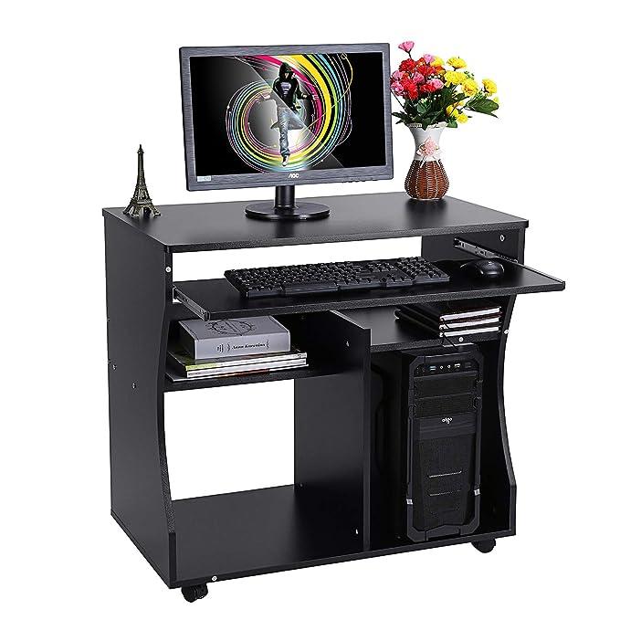 EBTOOLS - Mesa de Oficina con estantes y Estante para Teclado, 80 ...