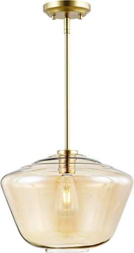 Light Society LS-C321-BB-AM Vera Pendant Light, Brushed Brass Amber