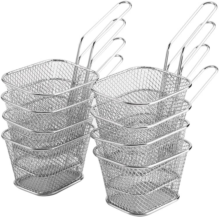 Nuolate2019 Wire Chip Fryer Basket Mini 8Pcs Deep French Fries Holder Stainless Steel Fried Food Presentation Potato Cooking Tool for Table Serving