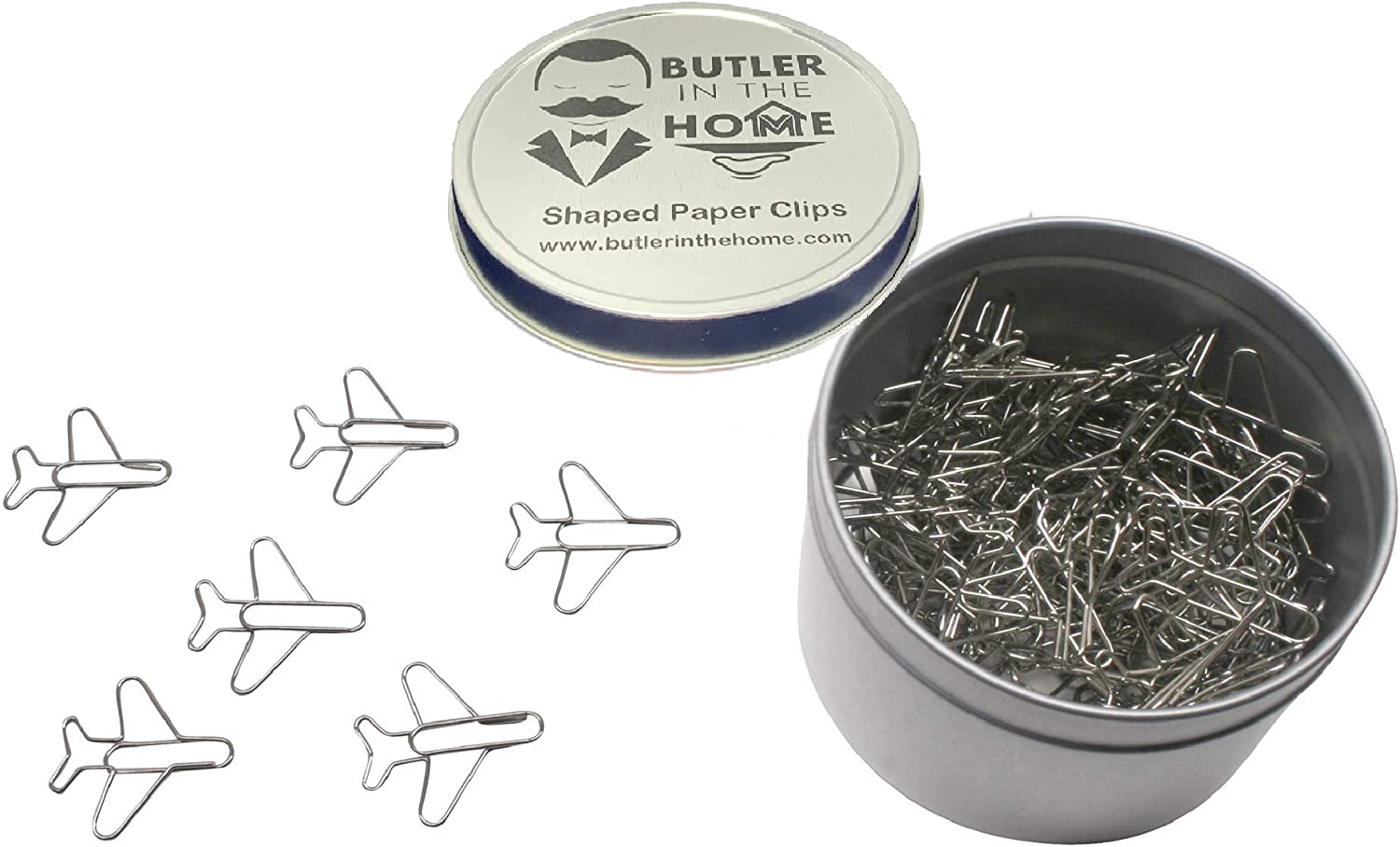Butler in the Home 100 Count Airplane Shaped Paper Clips Great for Paper Clip Collectors or Office Gift - Comes in Round Tin with Lid and Gift Box - (Silver)