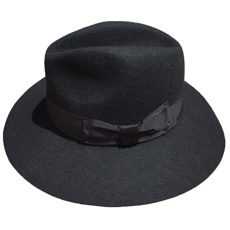 DOSOMI Fashion Black Wool Felt Wide Brim Fedora Hat for Men or Women 7 cm Brim