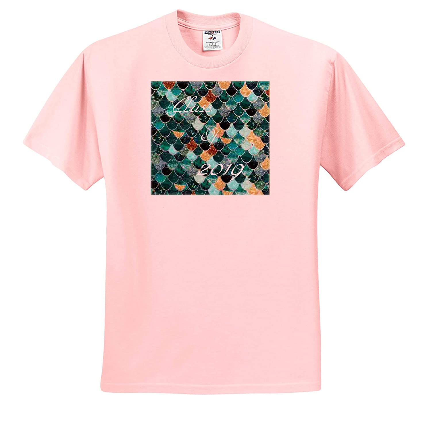 3dRose Lens Art by Florene Image of Aqua Turquoise Mermaid Scales with Class 2019 T-Shirts Graduation