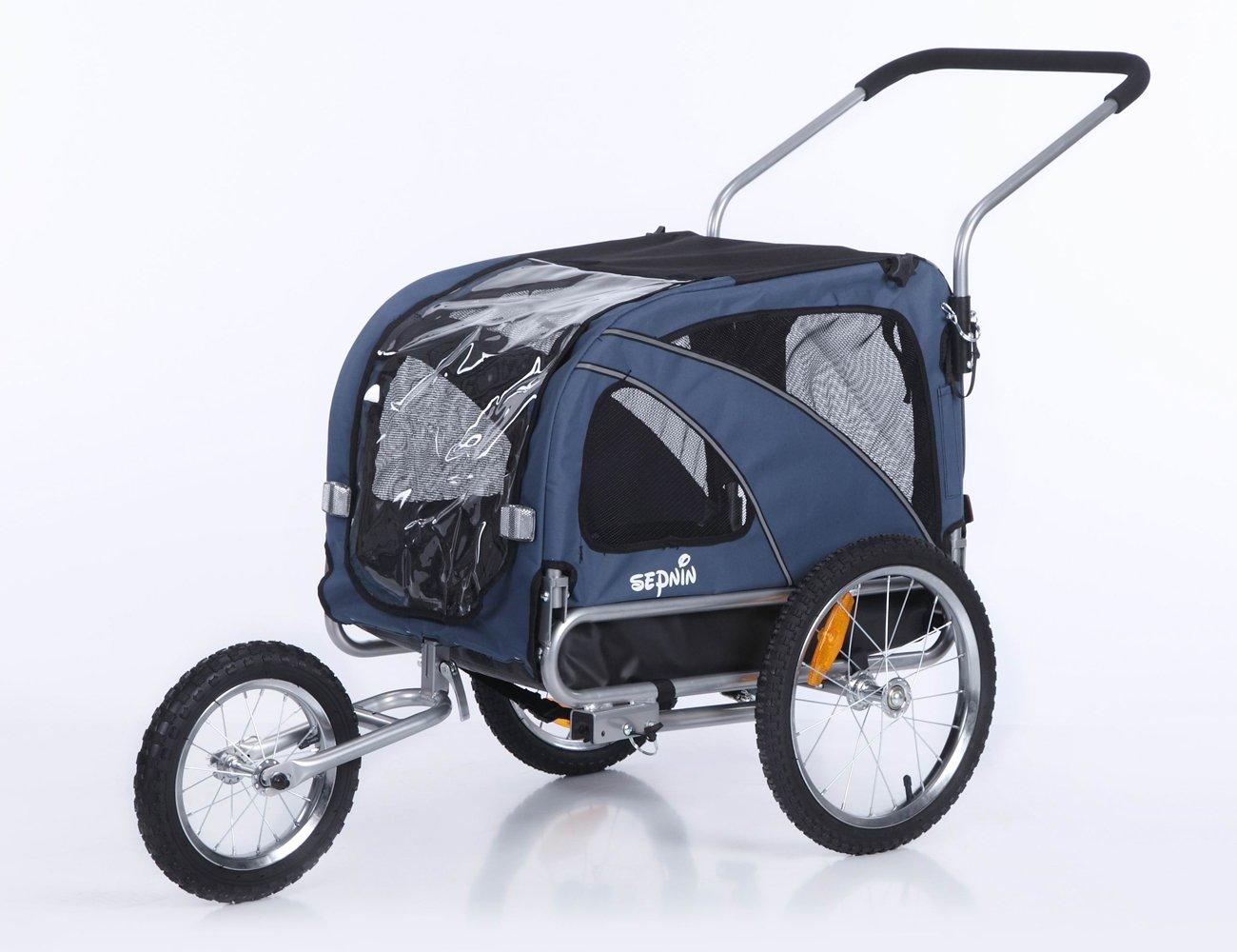 Sepnine 2 in1 medium pet dog bike trailer bicycle carrier and stroller jogger 10201 (blue)