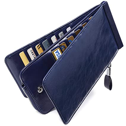Huztencor Carteras Monederos billeteras RFID tarjeteros para Tarjetas de credito Mujer Grandes Hombre Cuero Piel Azul