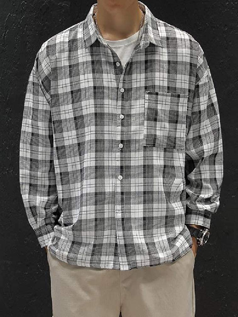RDHOPE-Men Casual Letter Printed Junior Plaid Long Sleeve Vintage Longshirt