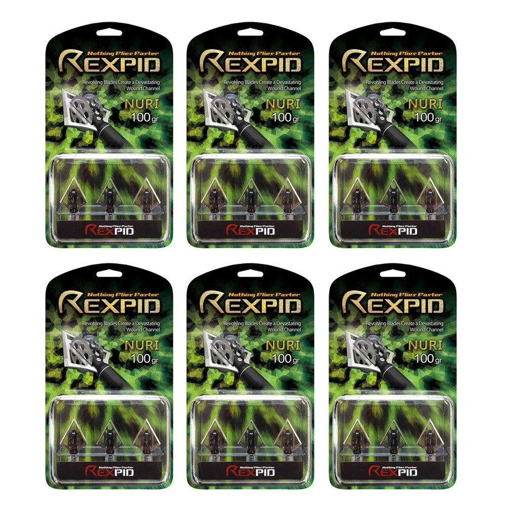 Rexpid Nuri Rotary Broadhead 100 grain, 6 sets of 3 broadheads