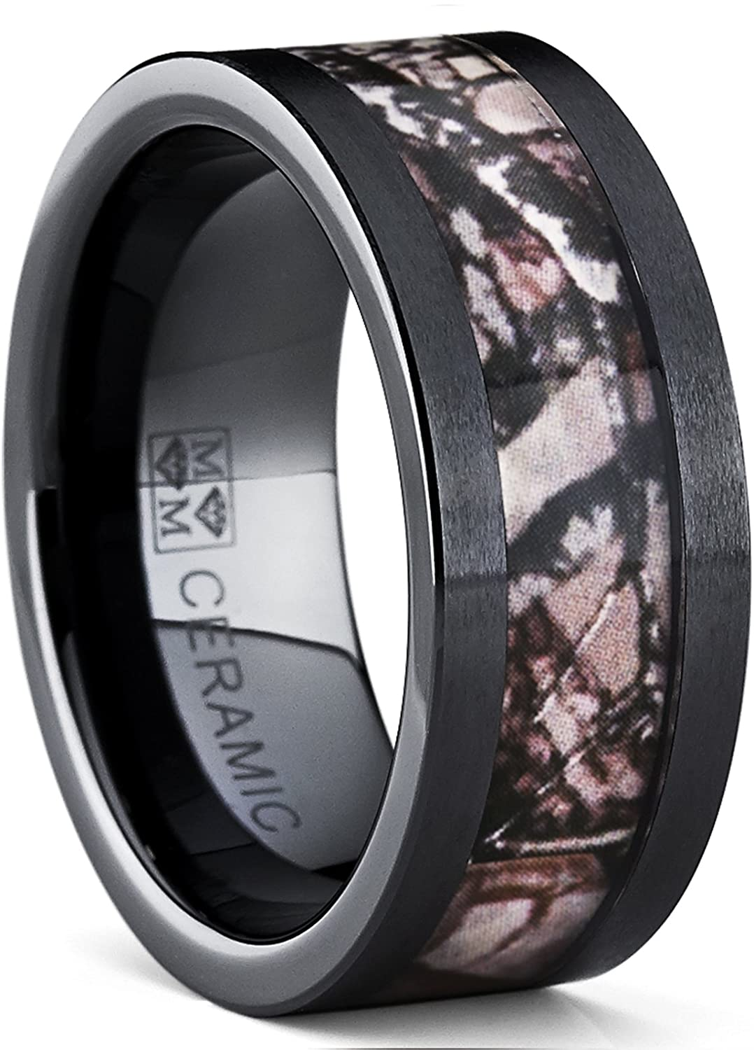 Black Ceramic Hunting Camo Ring With Real Forest Trees Max Wedding Band 9mmamazon: Ceramic Camo Wedding Rings At Websimilar.org