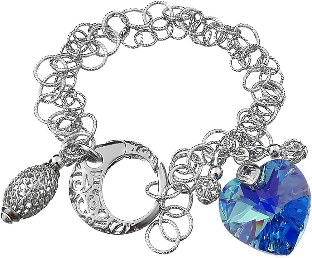 Cristales de Swarovski pulsera de Beautiful Aqua pendientes de corazón de plata de ley 925Certificado