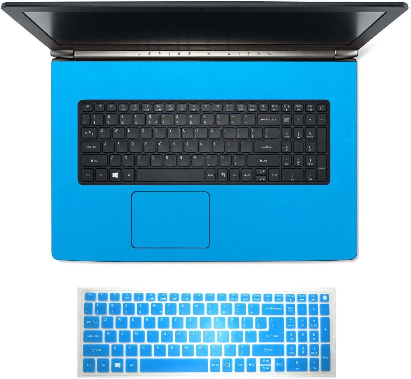 2in1 Wrist Palmrest Skin Sticker With Touchpad Cover+ Keyboard Protector for Acer Aspire Nitro VN7-792, VN7-792G (shimmery light blue palmrest sticker+semi-blue keyboard skin)