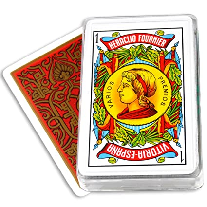 Fournier Spanish Playing Cards Double Face Plastic Case Deck 50 - Baraja Espanola Red