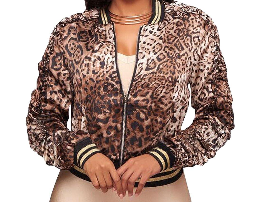 Oberora-Women Fashion Leopard Print Long Sleeve Zip Up Jacket Coat Outerwear