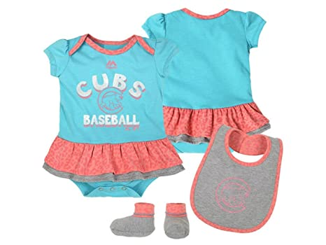 12d1ea5cc Image Unavailable. Image not available for. Color: Majestic Chicago Cubs  Baseball Girls 3 Piece Bodysuit Bib Booties Infant Set Onesie Size ...