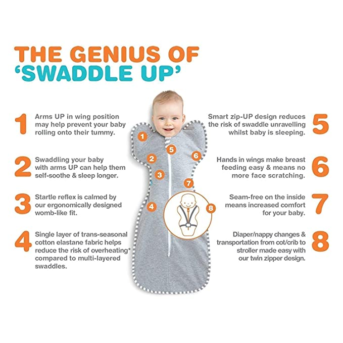 Love To Dream Swaddle UP- 50/50- Gray Stripe- Large 18.5-24 lbs by Love to Dream: Amazon.es: Bebé