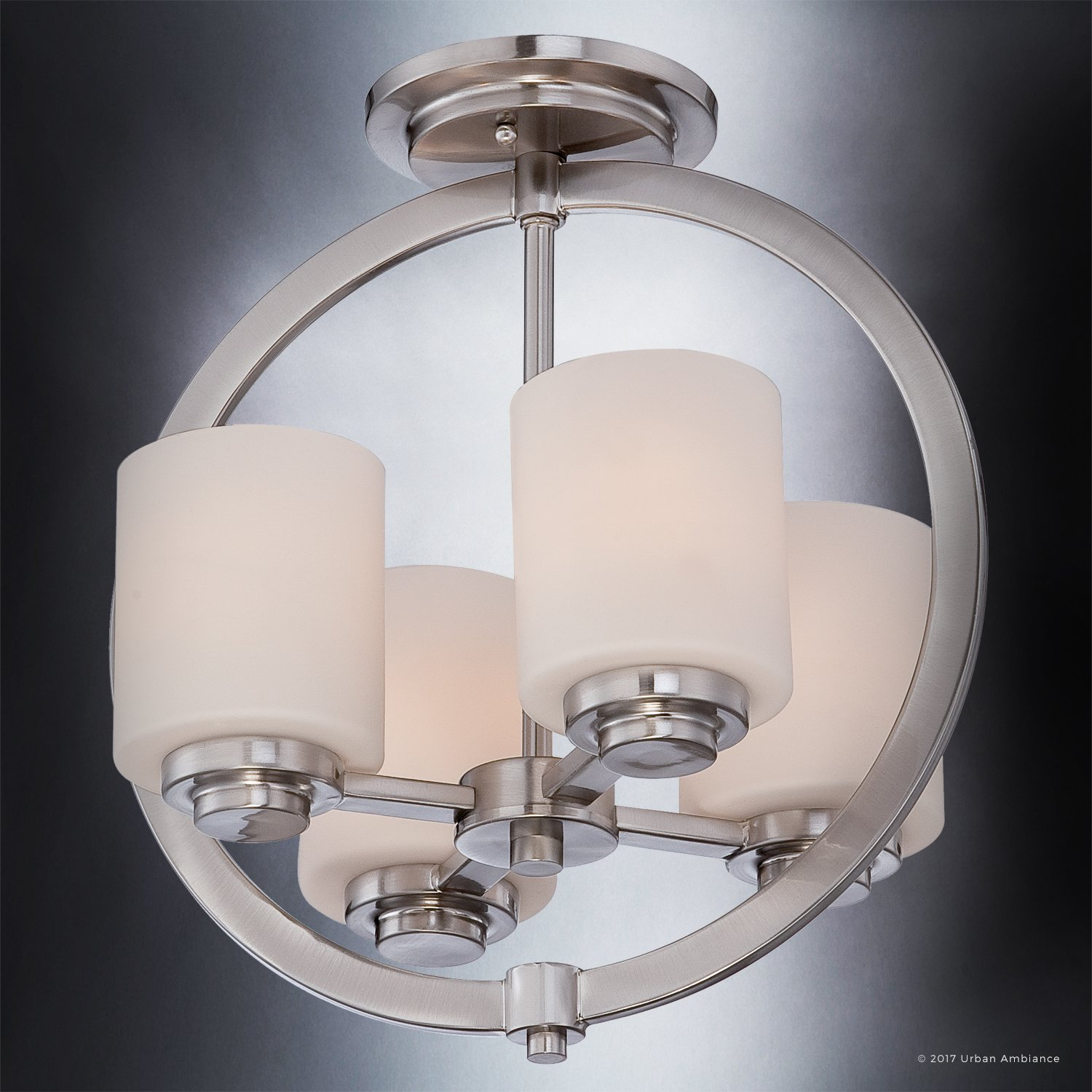 Luxury Contemporary Semi-Flush Ceiling Light, Medium Size: 15''H x 14''W, with Traditional Style Elements, Globe Design, Pretty Brushed Nickel Finish and Opal Etched Glass, UQL2171 by Urban Ambiance by Urban Ambiance (Image #4)