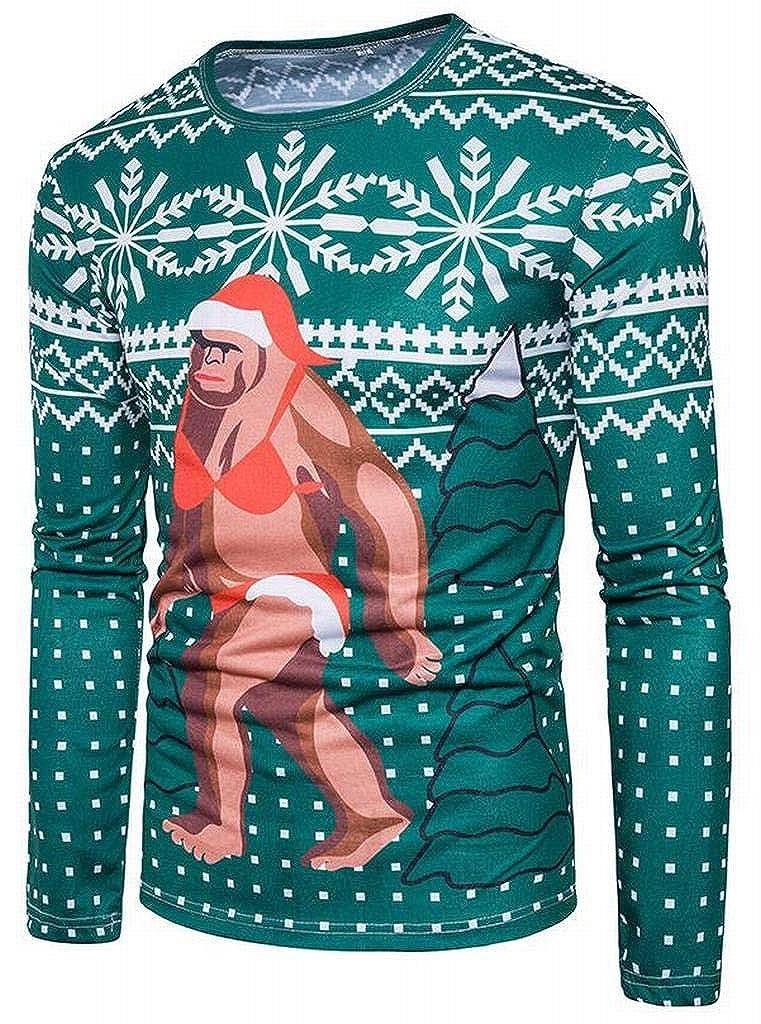 Teapolity Mens Long Sleeve Floral Print Round Neck Regular Fit Christmas Santa Top T-Shirt Blouse