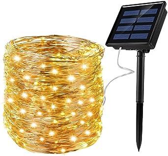 Ankway Luces Solares Cadena, Guirnalda de Luces 200 LEDs 22m Impermeable para Interior/Exterior Navidad Jardín Entrada Fiestas, Blanco Cálido: Amazon.es: Hogar