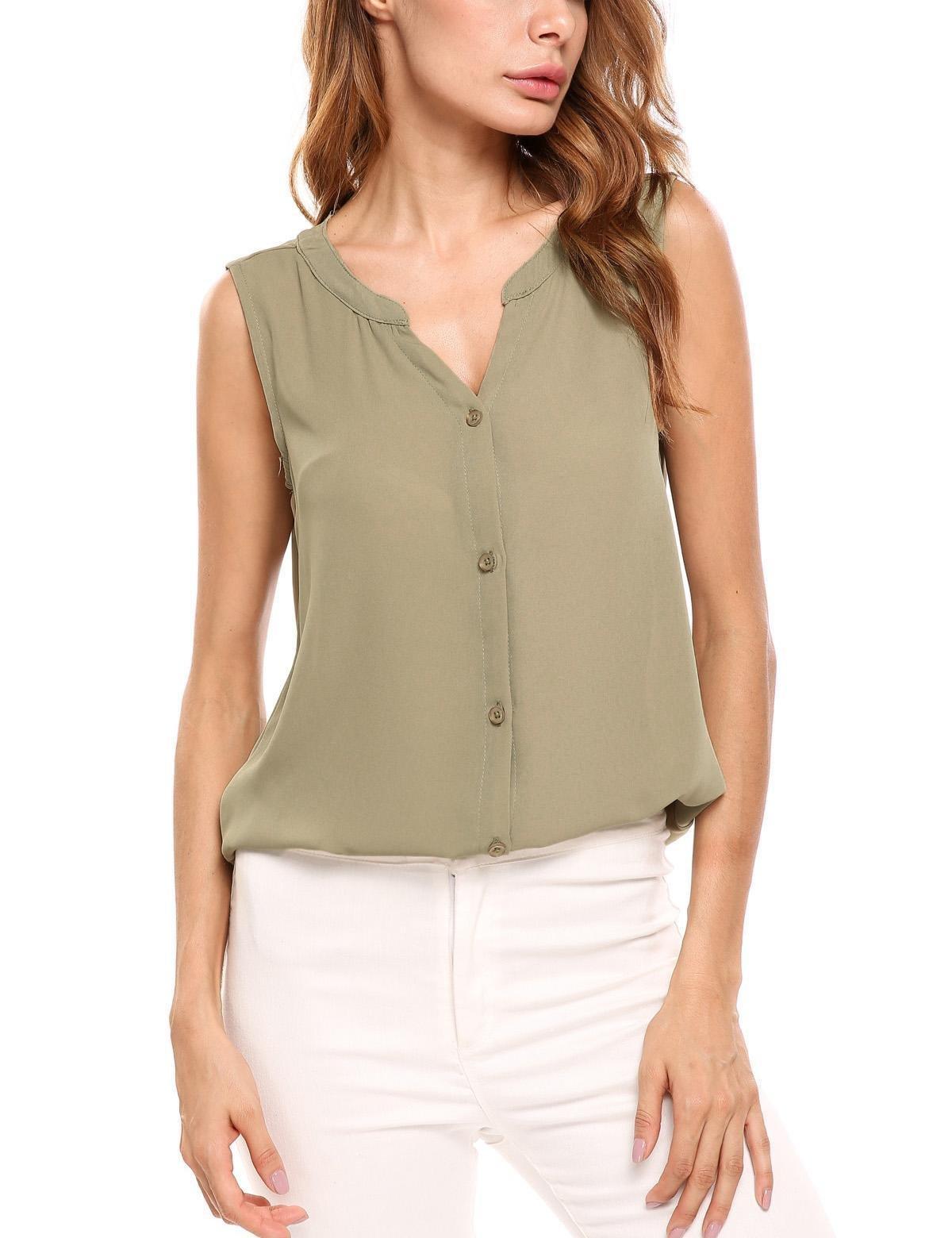SUNAELIA Womens V Neck Sleeveless Shirts Button Chiffon Blouse Tunic Tank Top, Army Green, X-Large