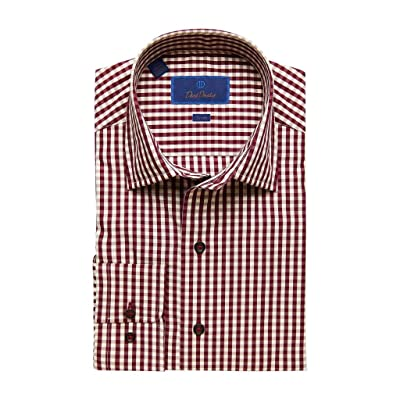 David Donahue Men's Trim Fit Fusion Plaid Pattern Red Dress Shirt at Men's Clothing store