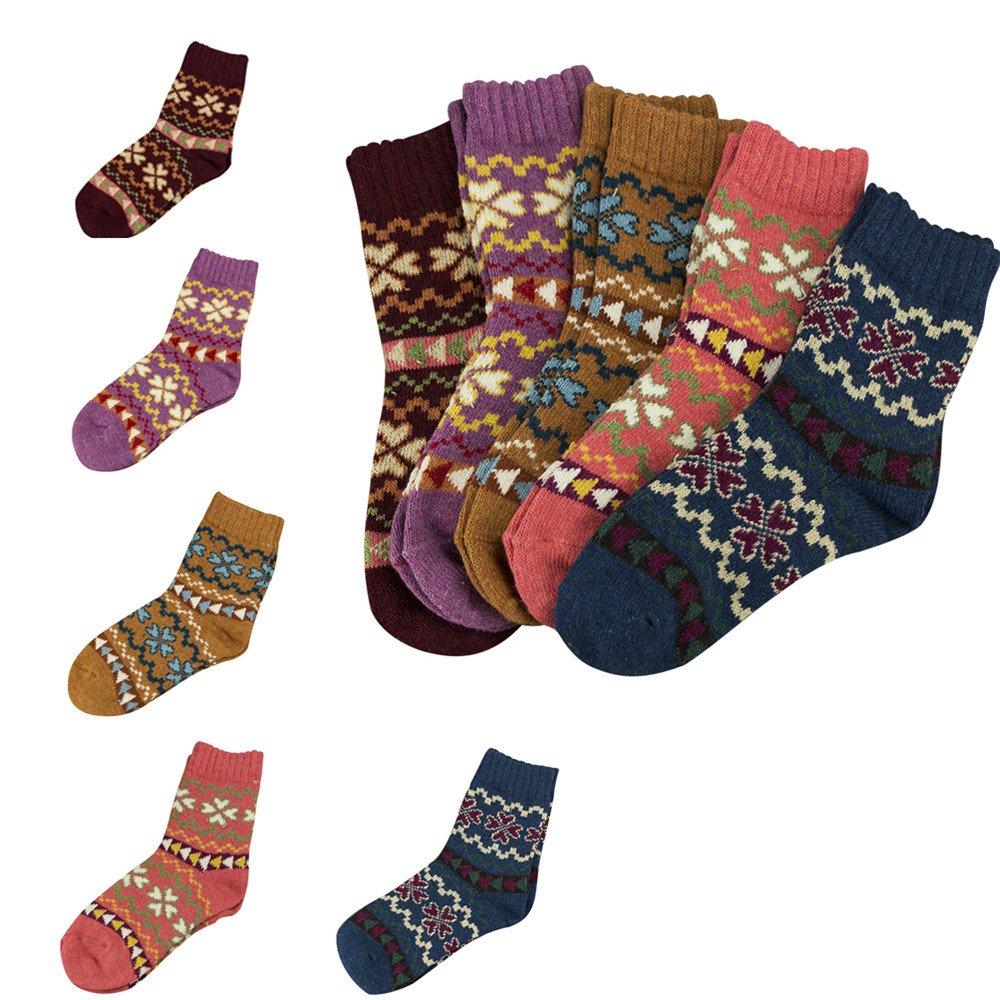 NEW 5 Pairs Warm Women Ladies Wool Thick Winter Socks Nordic Novelty Socks Good shop us
