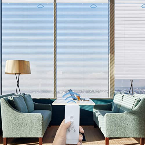 Graywind Motorized S Wave Venetian Blinds Remote Control Cordless Lift S Curve Room Darkening Blind Rechargeable Privacy Sheer Blind
