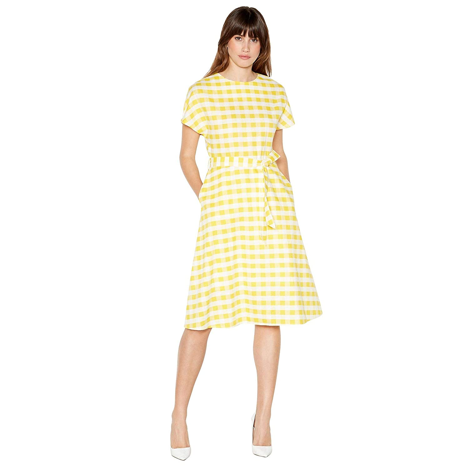 2bb033d596a Principles Womens Yellow Gingham Print Knee Length Dress  Principles   Amazon.co.uk  Clothing