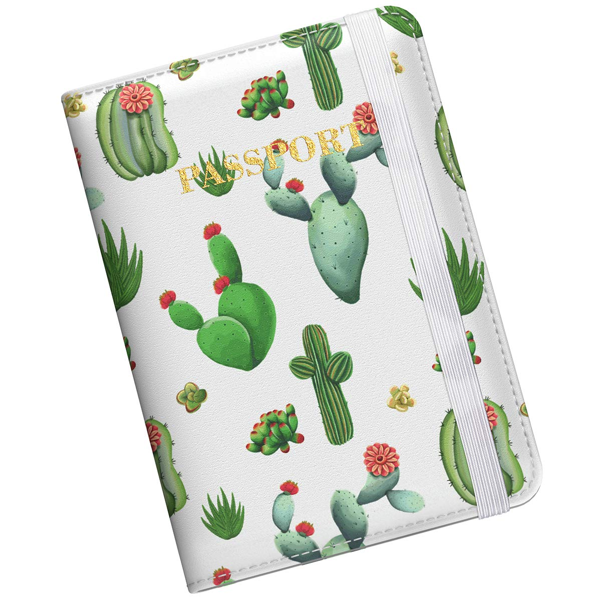Supgear Passport Holder Protector, RFID Blocking PU Leather Passport Cover Travel Wallet Case with Magnetic Buckle for Men & Women (Cactus) by Supgear