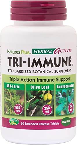 NaturesPlus Herbal Actives Tri Immune – Olive Leaf, Arabinogalactans, Andrographis Vitamin C Supplement – 60 Vegan Tablets, Extended Release 30 Servings