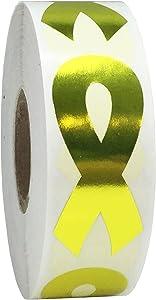 Metallic Gold Awareness Ribbon Stickers 2 Inch 500 Total Adhesive Labels