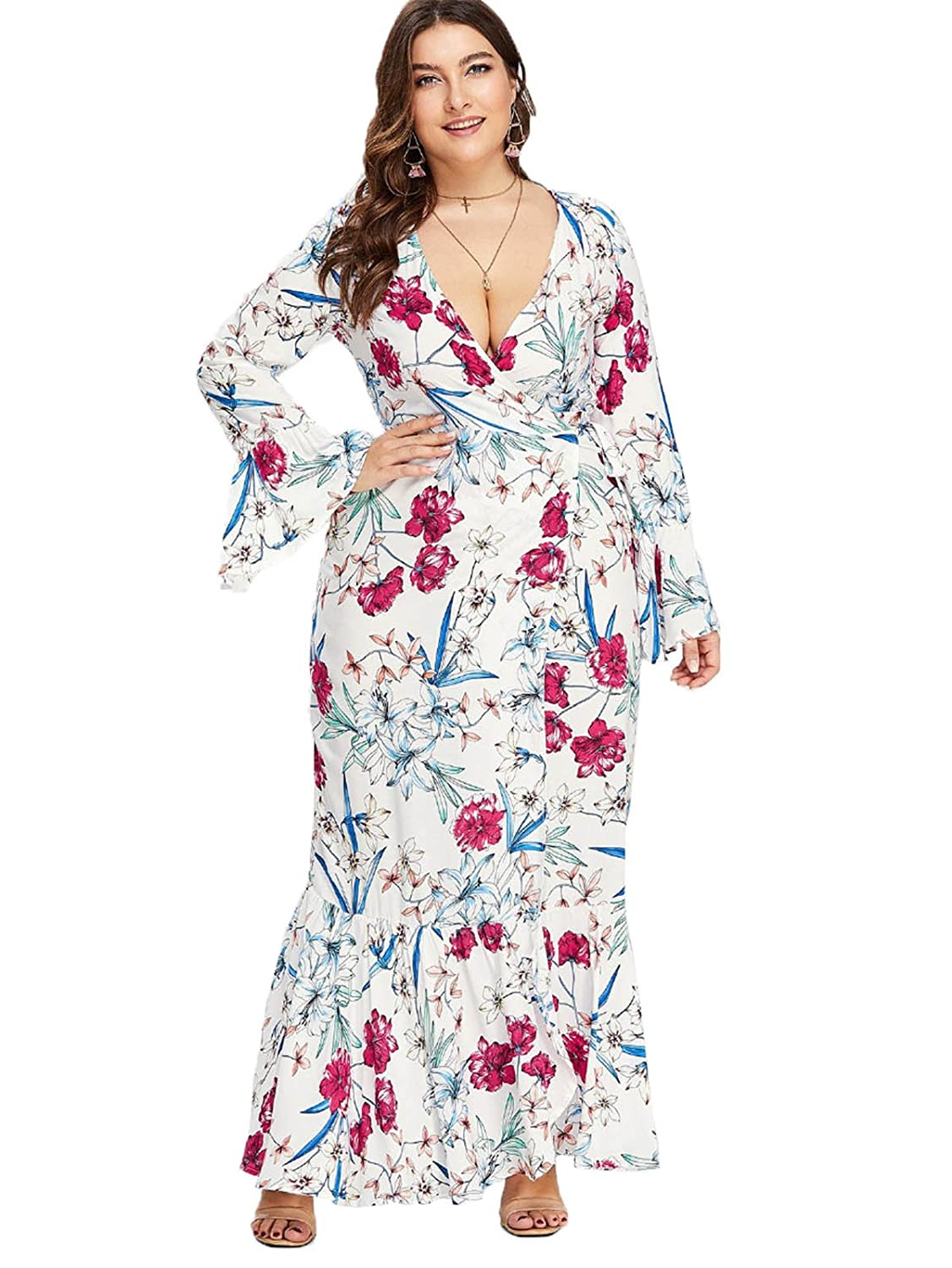 b4336c6f11 Floerns Women s Plus Size V Neck Long Sleeve Belted Floral Maxi Wrap Dress  White 3XL at Amazon Women s Clothing store