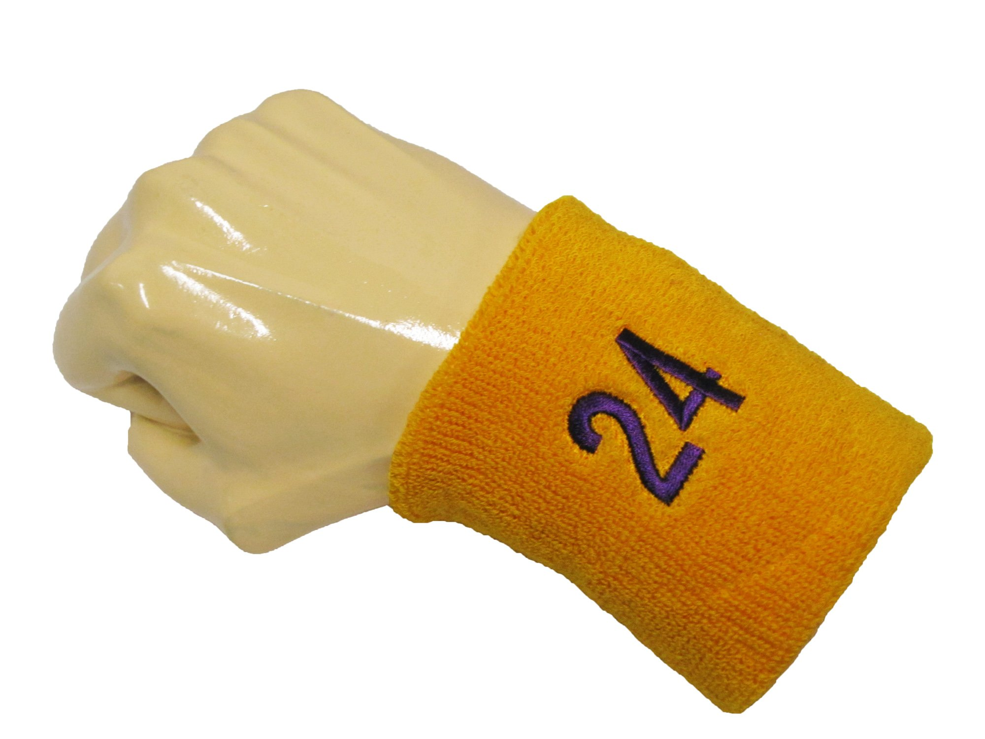 Number 24 Like LA Laker Purple 8 COUVER Basketball Star Golden Yellow Sweatbands with Purple