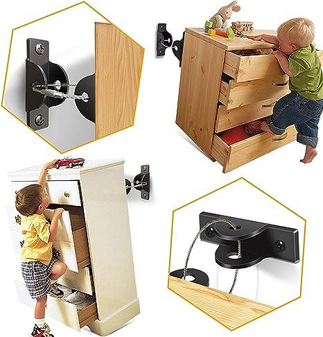 6 Pack) SYOSIN Cerraduras de Seguridad para Niños, Seguridad Bebe Kit Anclar Muebles, Anclaje Antivuelco Correas para Muebles para Protección de Bebés y Mascotas: Amazon.es: Bebé