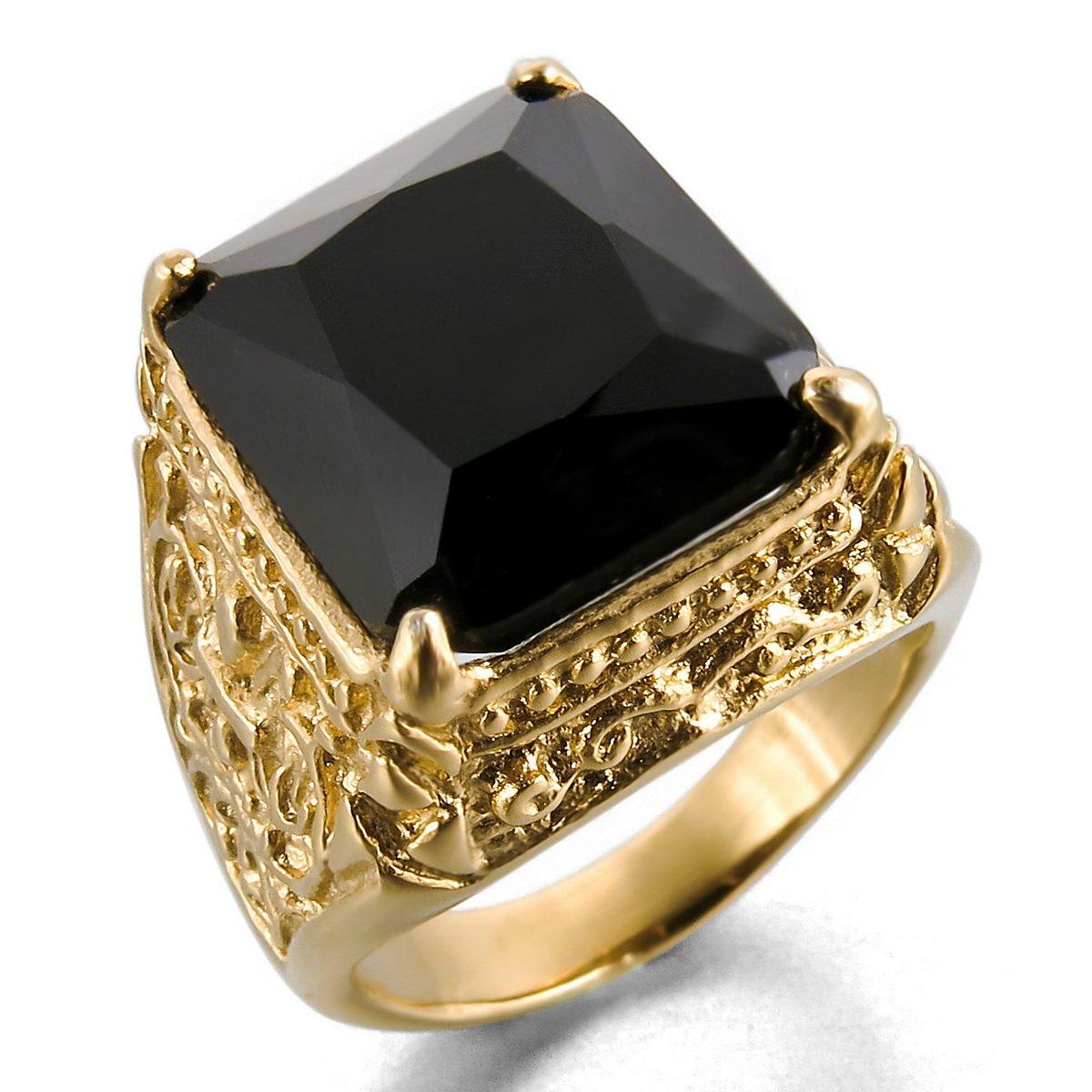 MunkiMix Acero Inoxidable Vidrio Glass Anillo Ring Oro Dorado Tono Negro La Flor De Lis Dragón Garra Grabado Hombre ve432-parent