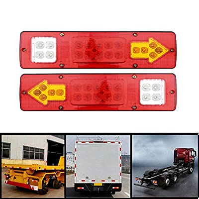 TAWSK RV ATV 19 LED Red White-Amber Truck Trailer Integrated Tail Lights Turn Signal Running Lamp 2Pcs: Automotive