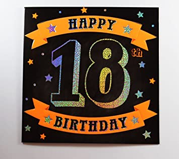 Happy 18th Birthday Greeting Card Large Luxury Quality For Him Men Male Black Amazoncouk Office Products
