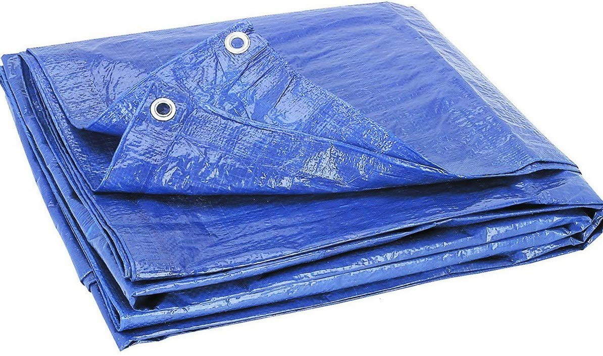 "Blue Multi-Purpose Reinforced Tarp, Lightweight Poly Tarpaulin Cut Size 8X10 Feet Finished Size 5.6"" X 7.6"" Blue Color, Small, For Outdoor Camping Patio Furniture Cover."