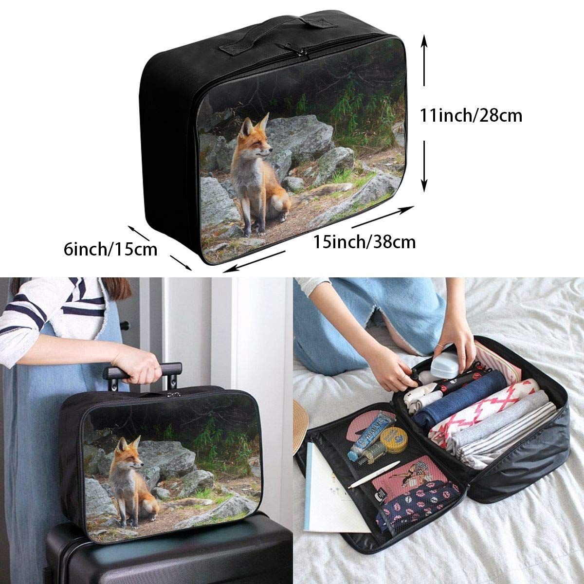 ADGAI A Dog Looking Into The Distance Canvas Travel Weekender Bag,Fashion Custom Lightweight Large Capacity Portable Luggage Bag,Suitcase Trolley Bag