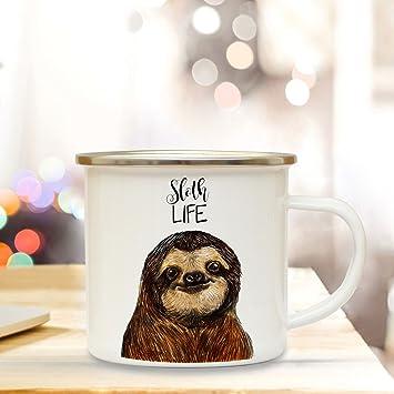 Tassen Büro & Schreibwaren Emaille Tasse Becher Faultier Spruch Kaffeebecher Campingbecher Sloth Life Eb32