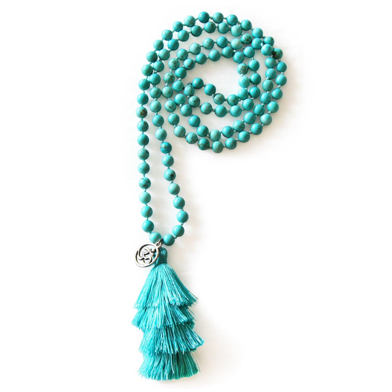 MHZ JEWELS Turquoise Mala Beads Necklace Bracelet Gemstone Prayer Beaded Meditation Yoga Necklace for Women