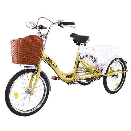 Riscko Triciclo para Adultos con Dos cestas (Beige): Amazon.es: Deportes y aire libre