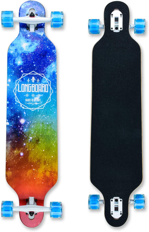 Longboard de 41 pulgadas, con rodamientos ABEC-11, Drop-Through Freeride Skateboards Cruiser