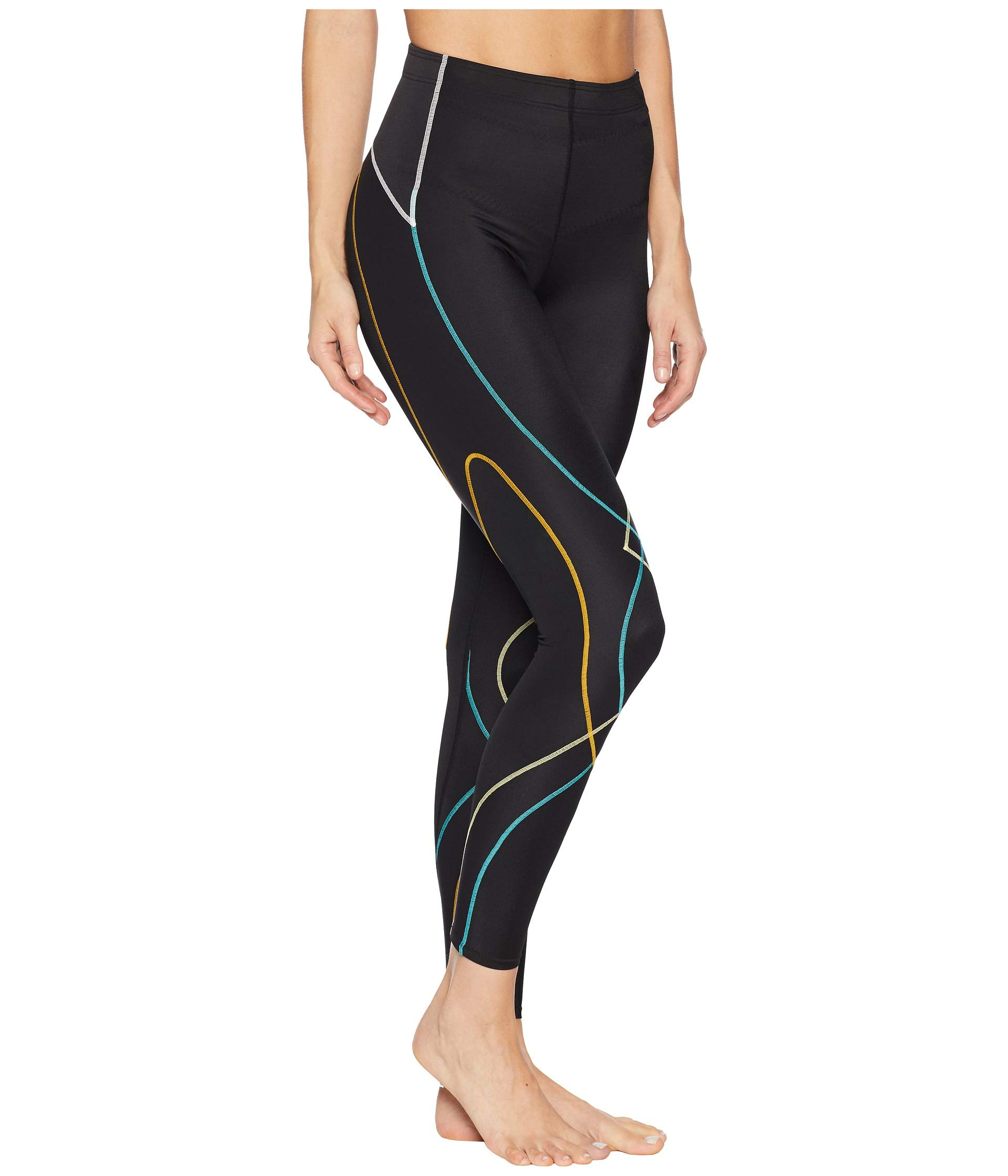 CW-X Women's Stabilyx Joint Support Compression Tight, Black/Bright Rainbow, X-Small by CW-X (Image #5)