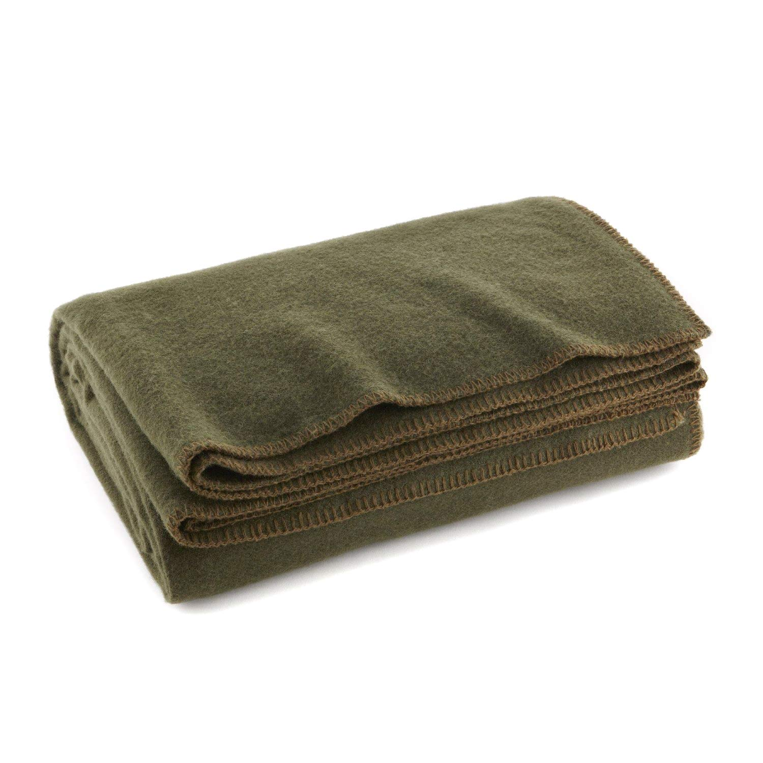 """Ever Ready First Aid Olive Drab Green Warm Wool Fire Retardent Blanket, 66"""" x 90"""" (80% Wool)-US Military"""