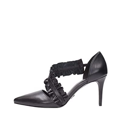 7ba869af7f0 Michael Kors Bella Leather Ruffled Pumps Heels in Black Size 8