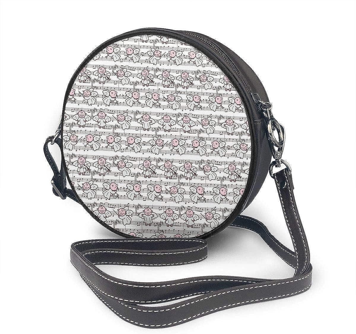 Music Note Cute Pig Round Leather Shoulder Bag Fashion Lady Crossbody Wallet Adjustable Top Handbag For Women Girl