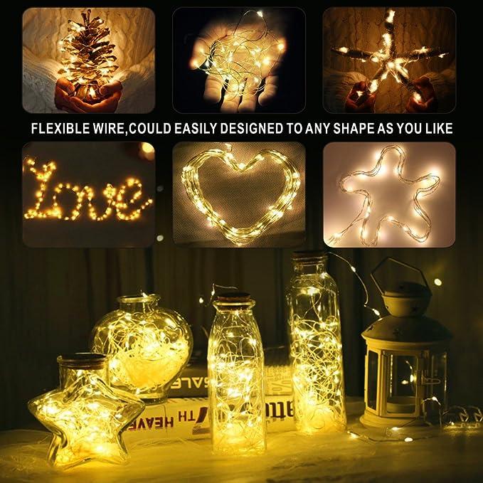 Idefair Botellas de Vino Luces de Corcho Alambre de Cobre para la Decoración del Dormitorio Boda Fiesta de Halloween Diy: Amazon.es: Iluminación