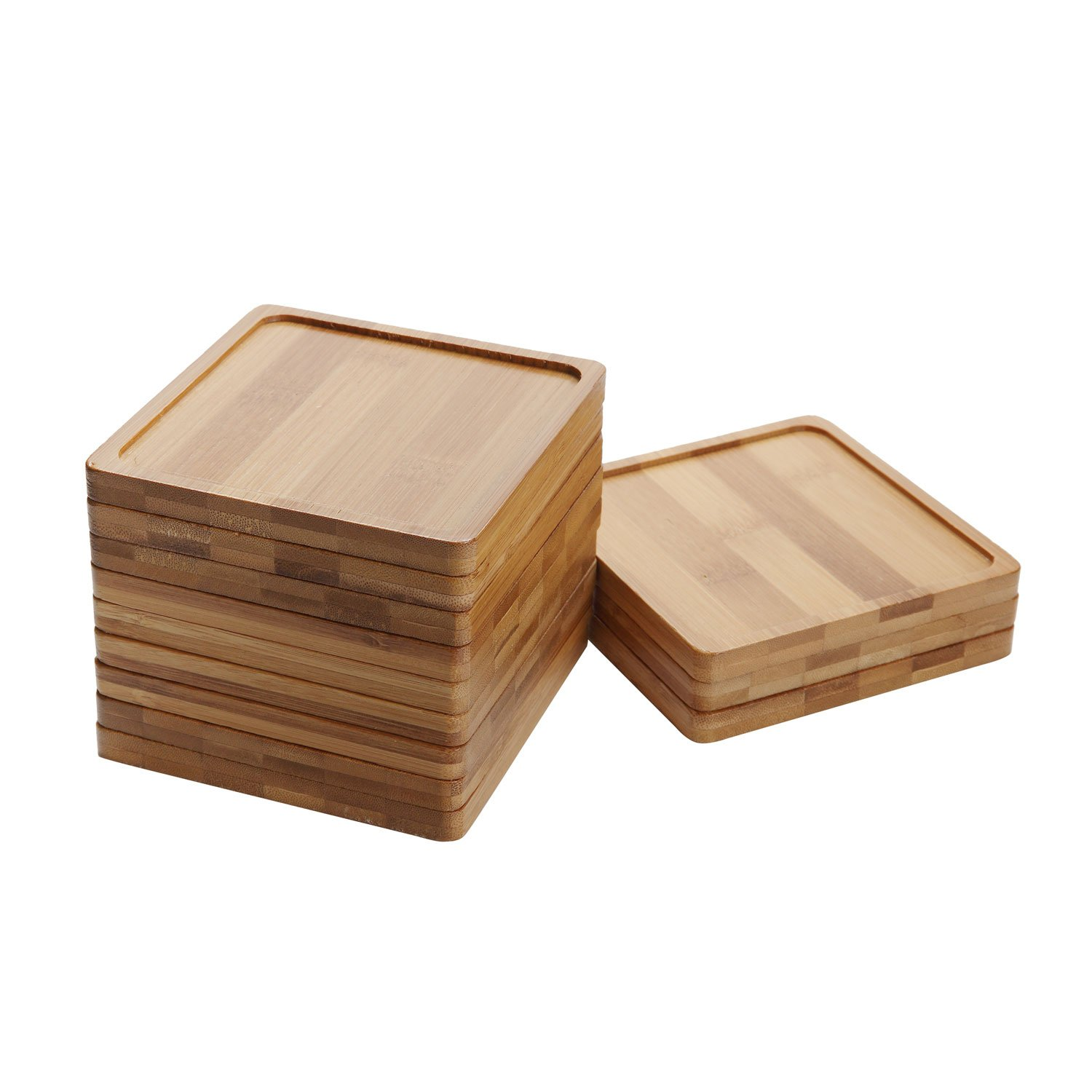 T4U 5 Inch Bamboo Square Bamboo Tray Sandy Beige - Set of 12 by T4U