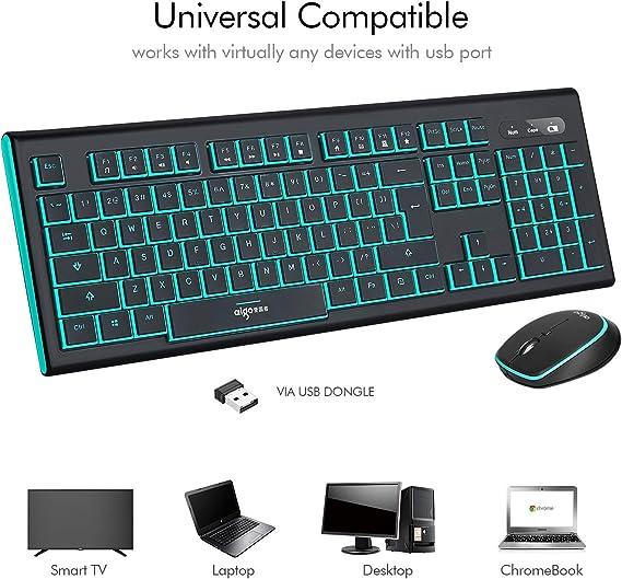 Aigo - Teclado inalámbrico y ratón con control de medios, teclas de doble color y ratón ergonómico con velocidad de cursor ajustable para Windows PC computadora de escritorio: Amazon.es: Electrónica